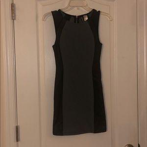 H&M grey leather mesh dress